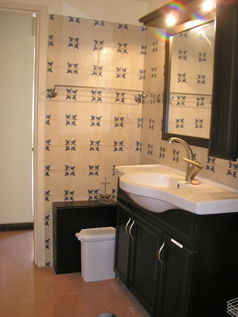 beautifully tiled washroom